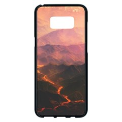 Volcanoes Magma Lava Mountains Samsung Galaxy S8 Plus Black Seamless Case