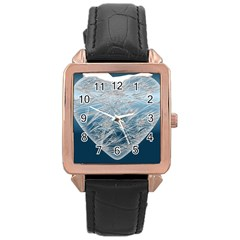 Frozen Heart Rose Gold Leather Watch