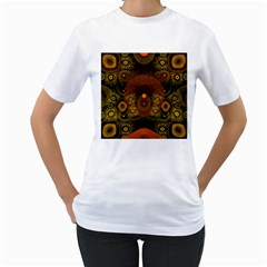 Fractal Yellow Design On Black Women s T-shirt (white) (two Sided)