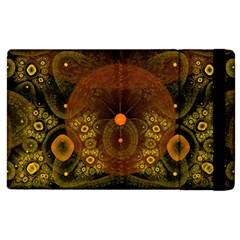 Fractal Yellow Design On Black Apple Ipad 3/4 Flip Case by Jojostore