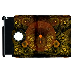 Fractal Yellow Design On Black Apple Ipad 2 Flip 360 Case