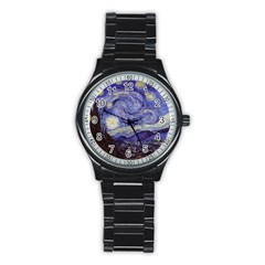 Van Gogh Starry Night Stainless Steel Round Watch by fineartgallery