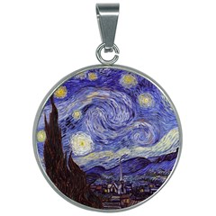 Van Gogh Starry Night 30mm Round Necklace
