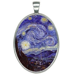 Van Gogh Starry Night Oval Necklace by fineartgallery