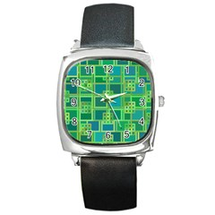 Green Abstract Geometric Square Metal Watch
