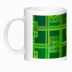 Green Abstract Geometric Night Luminous Mugs by Sapixe