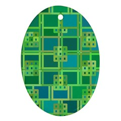 Green Abstract Geometric Oval Ornament (two Sides)