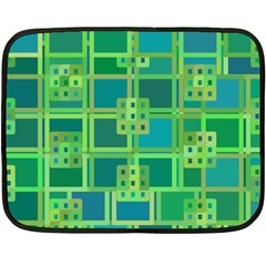 Green Abstract Geometric Double Sided Fleece Blanket (mini)  by Sapixe