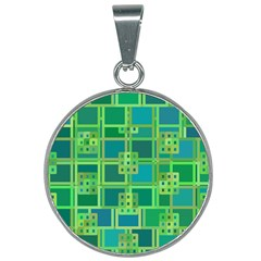 Green Abstract Geometric 25mm Round Necklace