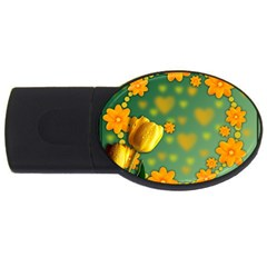 Background Design Texture Tulips Usb Flash Drive Oval (4 Gb)