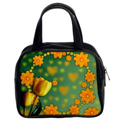 Background Design Texture Tulips Classic Handbag (two Sides)