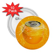 Orange Drink Splash Poster 2 25  Buttons (10 Pack)  by Sapixe