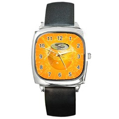 Orange Drink Splash Poster Square Metal Watch by Sapixe