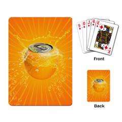 Orange Drink Splash Poster Playing Cards Single Design by Sapixe