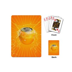 Orange Drink Splash Poster Playing Cards (mini) by Sapixe