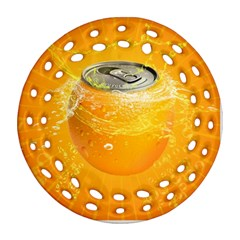 Orange Drink Splash Poster Round Filigree Ornament (two Sides) by Sapixe