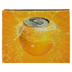 Orange Drink Splash Poster Cosmetic Bag (xxxl) by Sapixe