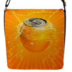 Orange Drink Splash Poster Flap Closure Messenger Bag (s)
