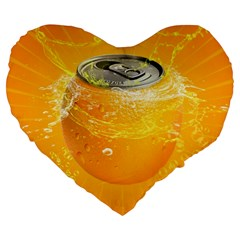 Orange Drink Splash Poster Large 19  Premium Flano Heart Shape Cushions by Sapixe