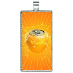 Orange Drink Splash Poster Rectangle Necklace by Sapixe