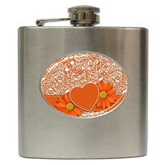 Flower Floral Heart Background Hip Flask (6 Oz) by Sapixe