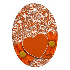 Flower Floral Heart Background Oval Ornament (two Sides) by Sapixe