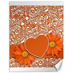 Flower Floral Heart Background Canvas 18  X 24