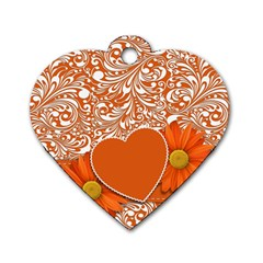 Flower Floral Heart Background Dog Tag Heart (one Side) by Sapixe