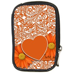 Flower Floral Heart Background Compact Camera Leather Case