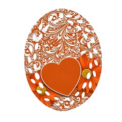 Flower Floral Heart Background Oval Filigree Ornament (two Sides)