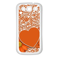 Flower Floral Heart Background Samsung Galaxy S3 Back Case (white)