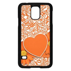 Flower Floral Heart Background Samsung Galaxy S5 Case (black) by Sapixe
