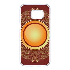 Badge Gilding Sun Red Oriental Samsung Galaxy S7 Edge White Seamless Case by Sapixe
