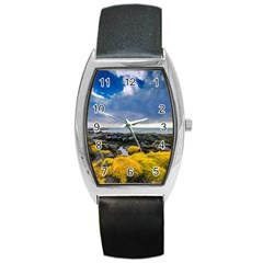 Iceland Nature Mountains Landscape Barrel Style Metal Watch