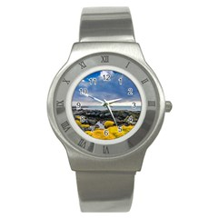 Iceland Nature Mountains Landscape Stainless Steel Watch by Sapixe
