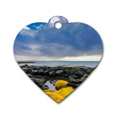 Iceland Nature Mountains Landscape Dog Tag Heart (one Side)