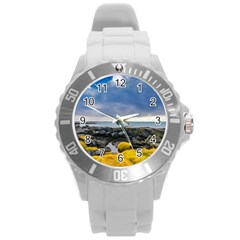 Iceland Nature Mountains Landscape Round Plastic Sport Watch (l)