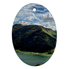 Panoramic Nature Mountain Water Ornament (oval)