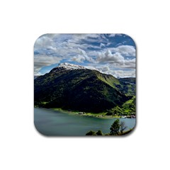 Panoramic Nature Mountain Water Rubber Square Coaster (4 Pack)