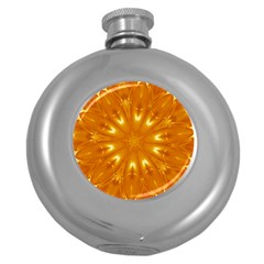 Kaleidoscopic Flower Round Hip Flask (5 Oz) by yoursparklingshop