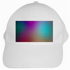 Blue And Pink Colors On A Pattern White Cap