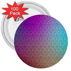 Blue And Pink Colors On A Pattern 3  Buttons (100 Pack)