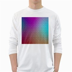 Blue And Pink Colors On A Pattern Long Sleeve T Shirt