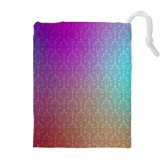 Blue And Pink Colors On A Pattern Drawstring Pouch (xl)