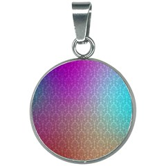 Blue And Pink Colors On A Pattern 20mm Round Necklace by Jojostore