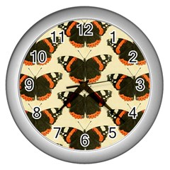Butterfly Butterflies Insects Wall Clock (silver)