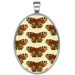 Butterfly Butterflies Insects Oval Necklace