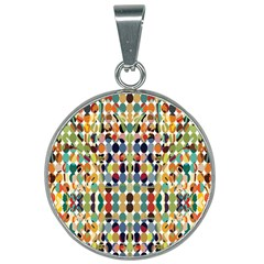 Retro Pattern Abstract 25mm Round Necklace by Jojostore
