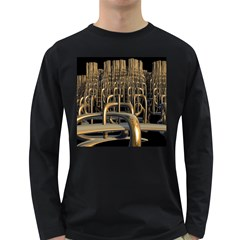 Fractal Image Of Copper Pipes Long Sleeve Dark T Shirt