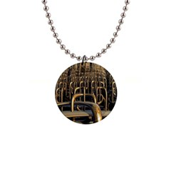 Fractal Image Of Copper Pipes 1  Button Necklace